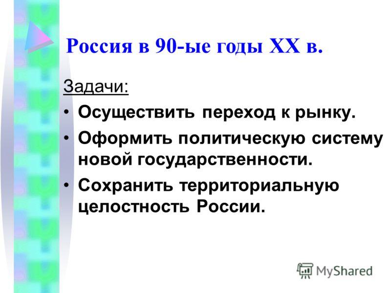 Задачи: Осуществить переход к рынку. Оформить политическую систему новой государственности. Сохранить территориальную целостность России. Россия в 90-ые годы XX в.