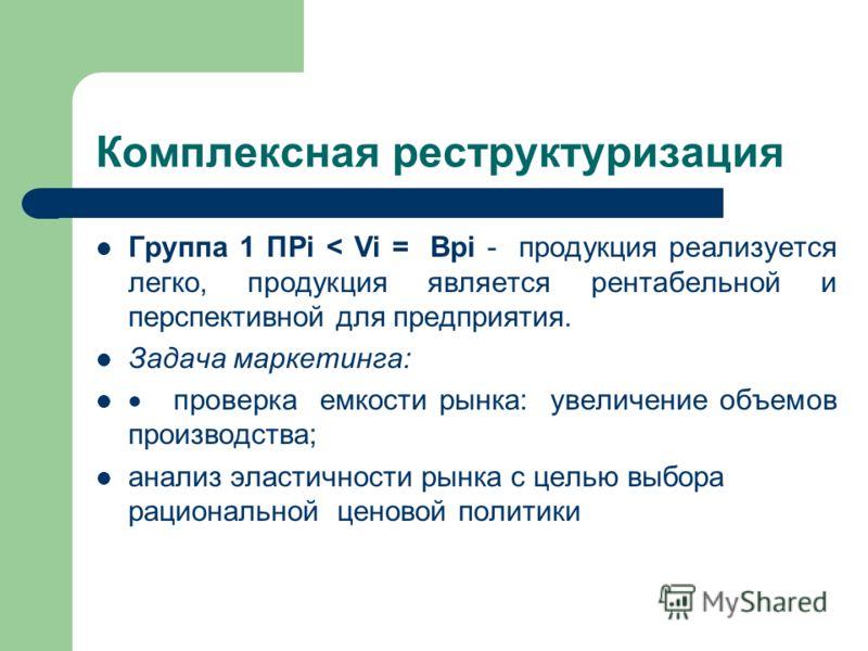 Комплексная реструктуризация Группа 1 ПРi < Vi = Врi - продукция реализуется легко, продукция является рентабельной и перспективной для предприятия. Задача маркетинга: проверка емкости рынка: увеличение объемов производства; анализ эластичности рынка
