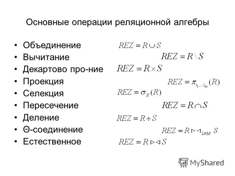 Основные операции реляционной алгебры Объединение Вычитание Декартово про-ние Проекция Селекция Пересечение Деление Θ-соединение Естественное
