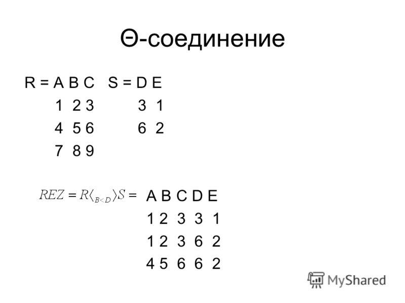 Θ-соединение R = A B C S = D E 1 2 3 3 1 4 5 6 6 2 7 8 9 A B C D E 1 2 3 3 1 1 2 3 6 2 4 5 6 6 2