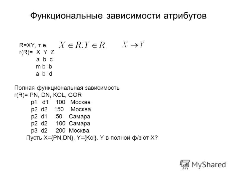 Функциональные зависимости атрибутов R=XY, т.е. r(R)= X Y Z a b c m b b a b d Полная функциональная зависимость r(R)= PN, DN, KOL, GOR p1 d1 100 Москва p2 d2 150 Москва p2 d1 50 Самара p2 d2 100 Самара p3 d2 200 Москва Пусть X={PN,DN}, Y={Kol}. Y в п
