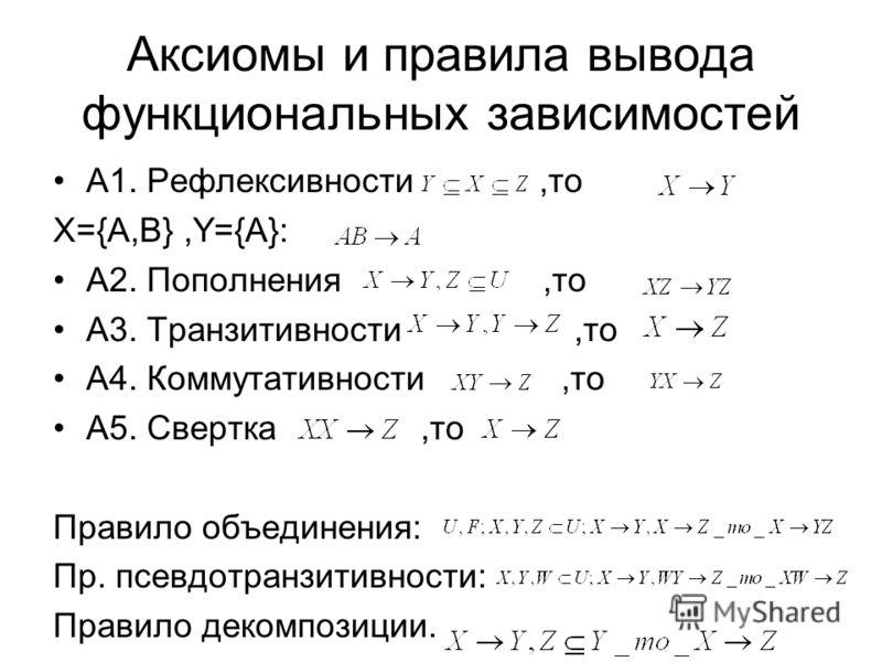 Аксиомы и правила вывода функциональных зависимостей А1. Рефлексивности,то X={A,B},Y={A}: А2. Пополнения,то А3. Транзитивности,то А4. Коммутативности,то А5. Свертка,то Правило объединения: Пр. псевдотранзитивности: Правило декомпозиции.