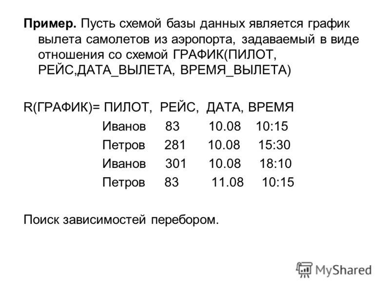 Пример. Пусть схемой базы данных является график вылета самолетов из аэропорта, задаваемый в виде отношения со схемой ГРАФИК(ПИЛОТ, РЕЙС,ДАТА_ВЫЛЕТА, ВРЕМЯ_ВЫЛЕТА) R(ГРАФИК)= ПИЛОТ, РЕЙС, ДАТА, ВРЕМЯ Иванов 83 10.08 10:15 Петров 281 10.08 15:30 Ивано