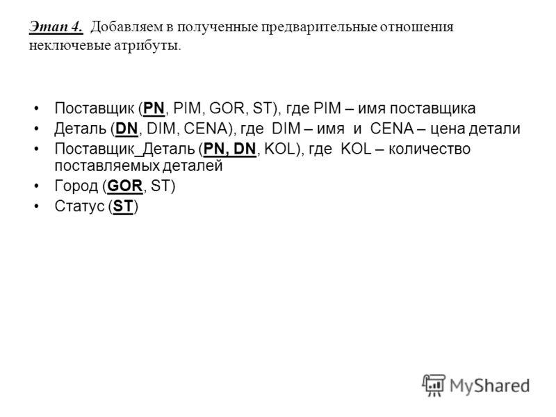 Этап 4. Добавляем в полученные предварительные отношения неключевые атрибуты. Поставщик (PN, PIM, GOR, ST), где PIM – имя поставщика Деталь (DN, DIM, CENA), где DIM – имя и CENA – цена детали Поставщик_Деталь (PN, DN, KOL), где KOL – количество поста