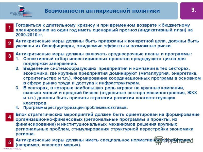 www.csr-nw.ru 9. Готовиться к длительному кризису и при временном возврате к бюджетному планированию на один год иметь сценарный прогноз (индикативный план) на 2009-2010 гг. 1.Селективный отбор инвестиционных проектов предыдущего цикла для поддержки