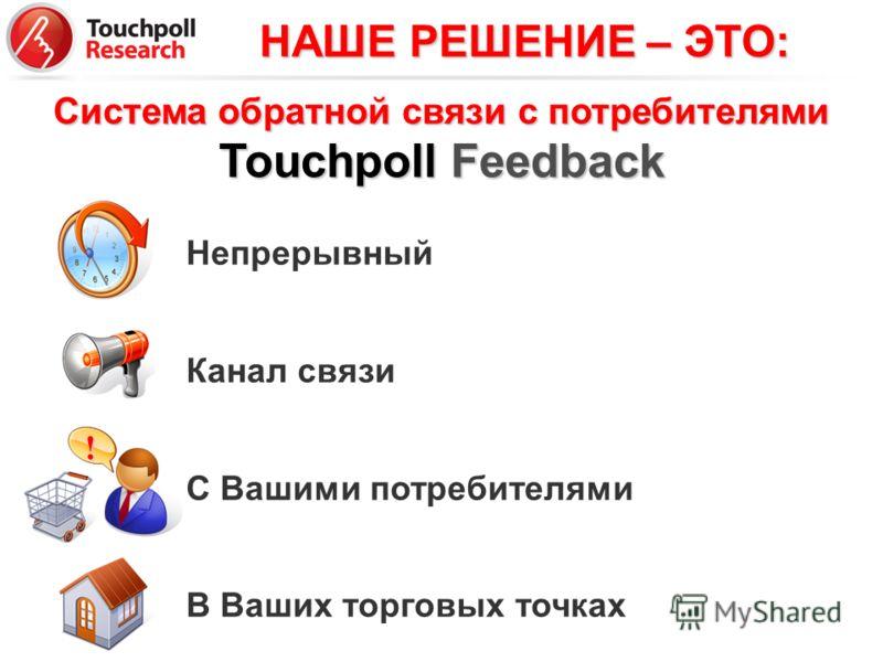 Система обратной связи с потребителями Touchpoll Feedback Непрерывный Канал связи С Вашими потребителями В Ваших торговых точках! НАШЕ РЕШЕНИЕ – ЭТО: