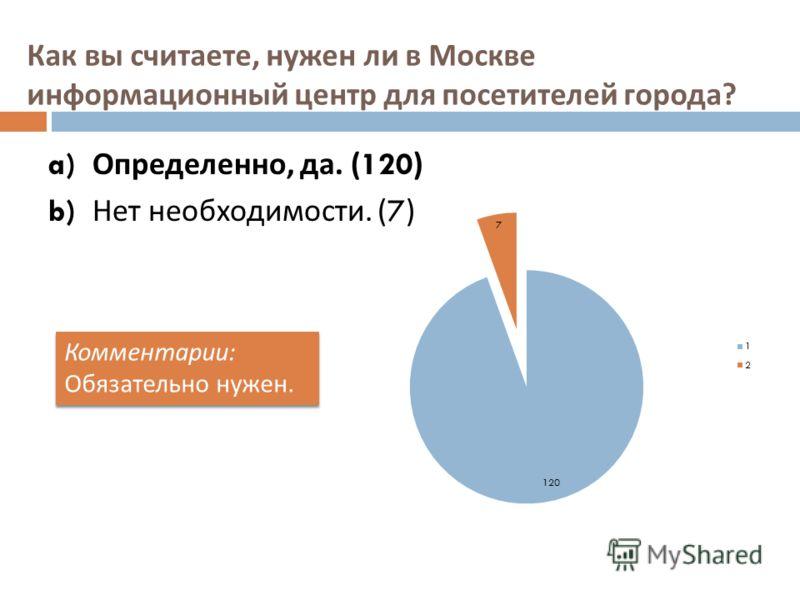 Как вы считаете, нужен ли в Москве информационный центр для посетителей города ? a) Определенно, да. (120) b) Нет необходимости. (7) Комментарии : Обязательно нужен. Комментарии : Обязательно нужен.