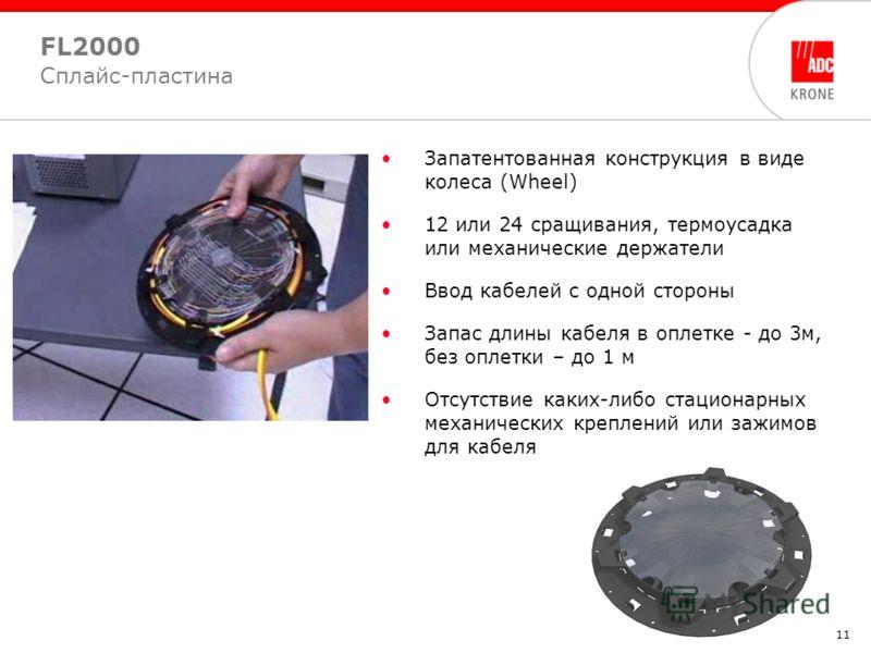 11 FL2000 Сплайс-пластина Запатентованная конструкция в виде колеса (Wheel) 12 или 24 сращивания, термоусадка или механические держатели Ввод кабелей с одной стороны Запас длины кабеля в оплетке - до 3м, без оплетки – до 1 м Отсутствие каких-либо ста