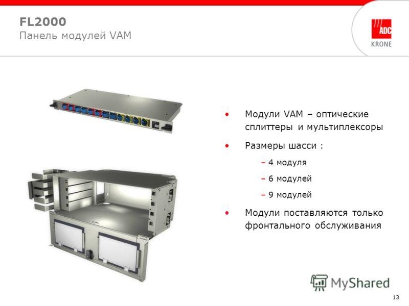 13 Модули VAM – оптические сплиттеры и мультиплексоры Размеры шасси : – 4 модуля – 6 модулей – 9 модулей Модули поставляются только фронтального обслуживания FL2000 Панель модулей VAM