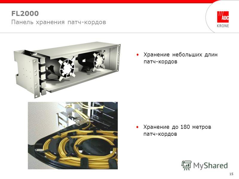 15 Хранение небольших длин патч-кордов FL2000 Панель хранения патч-кордов Хранение до 180 метров патч-кордов