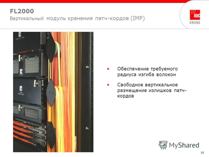 16 FL2000 Вертикальный модуль хранения патч-кордов (IMP) Обеспечение требуемого радиуса изгиба волокон Свободное вертикальное размещение излишков патч- кордов
