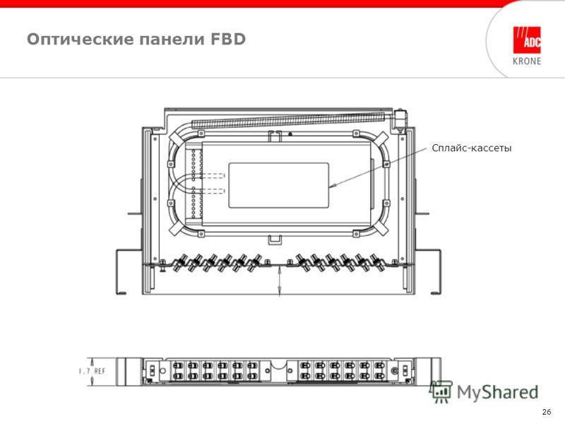 26 Сплайс-кассеты Оптические панели FBD