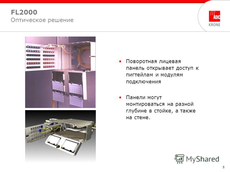 5 Поворотная лицевая панель открывает доступ к пигтейлам и модулям подключения Панели могут монтироваться на разной глубине в стойке, а также на стене. FL2000 Оптическое решение