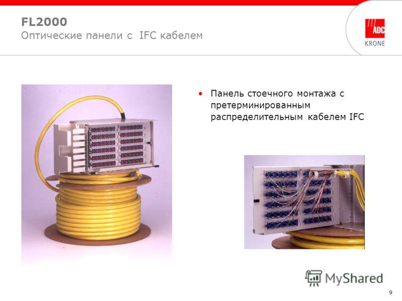 9 Панель стоечного монтажа с претерминированным распределительным кабелем IFC FL2000 Оптические панели с IFC кабелем