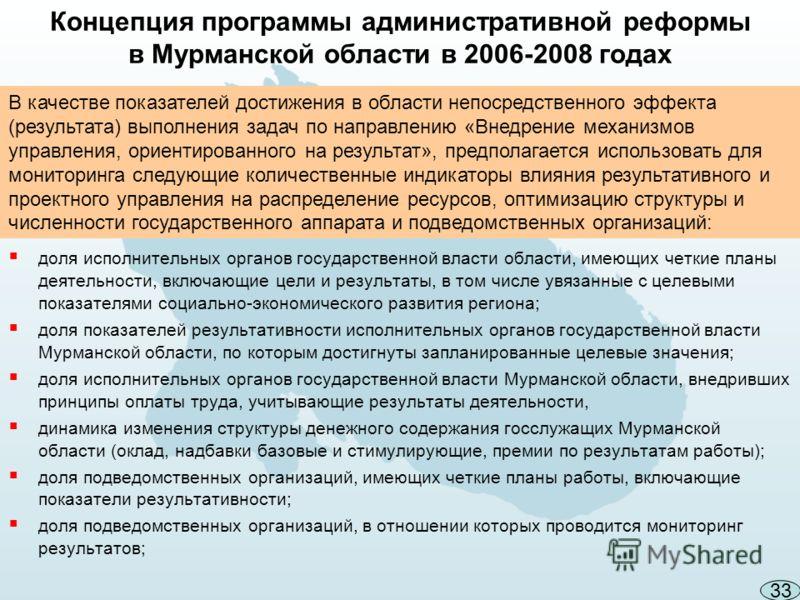 Концепция программы административной реформы в Мурманской области в 2006-2008 годах доля исполнительных органов государственной власти области, имеющих четкие планы деятельности, включающие цели и результаты, в том числе увязанные с целевыми показате