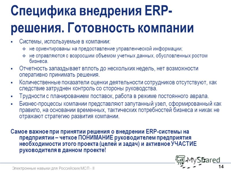 Электронные навыки для Российских МСП - II 14 Специфика внедрения ERP- решения. Готовность компании Системы, используемые в компании: не ориентированы на предоставление управленческой информации; не справляются с возросшим объемом учетных данных, обу