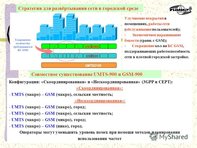 Стратегия для развёртывания сети в городской среде Улучшение покрытия в помещениях, работы сети (обслуживания пользователей); -Экономичное наращивание ёмкости (сравн. с GSM); -Сокращение кол-ва БС GSM, поддерживающих работоспособность сети в плотной