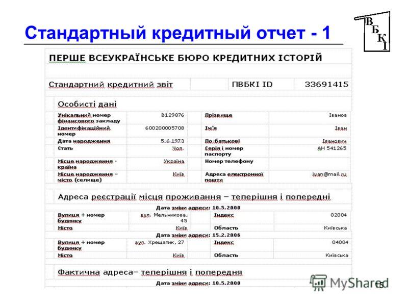 15 Стандартный кредитный отчет - 1