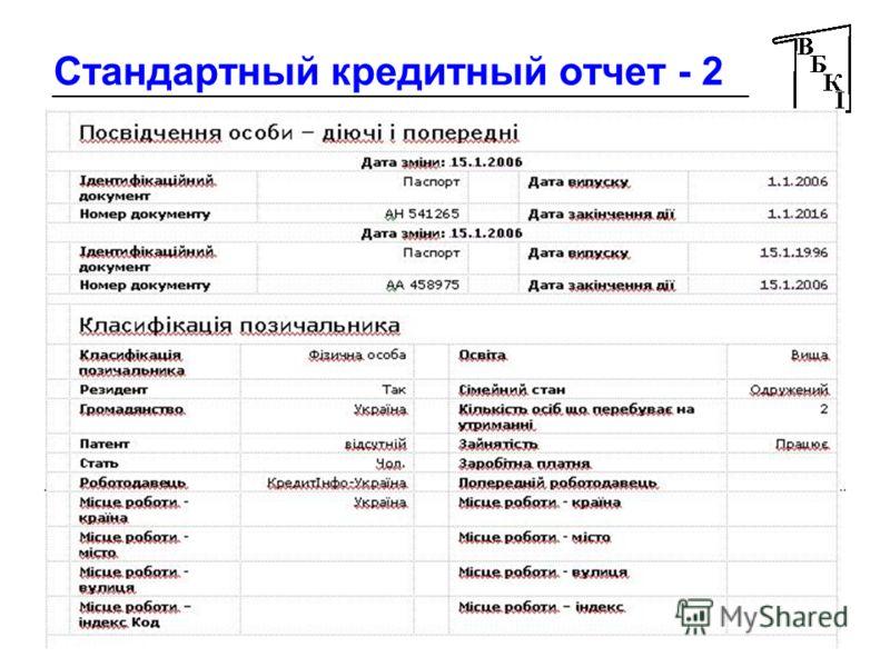 16 Стандартный кредитный отчет - 2