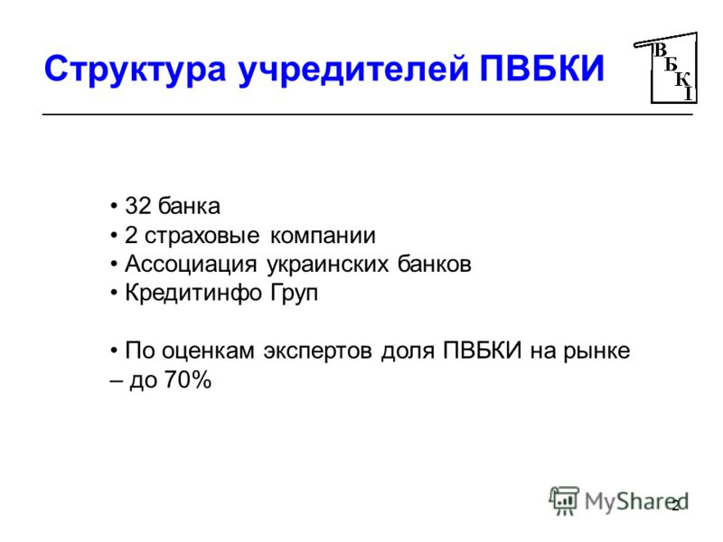 2 Структура учредителей ПВБКИ 32 банка 2 страховые компании Ассоциация украинских банков Кредитинфо Груп По оценкам экспертов доля ПВБКИ на рынке – до 70%