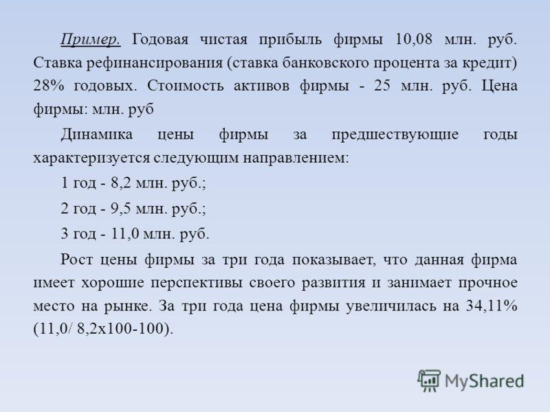 Пример. Годовая чистая прибыль фирмы 10,08 млн. руб. Ставка рефинансирования (ставка банковского процента за кредит) 28% годовых. Стоимость активов фирмы - 25 млн. руб. Цена фирмы: млн. руб Динамика цены фирмы за предшествующие годы характеризуется с