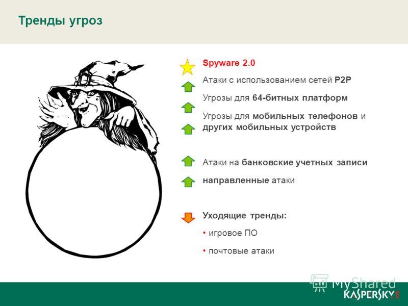 Тренды угроз Spyware 2.0 Атаки с использованием сетей P2P Угрозы для 64-битных платформ Угрозы для мобильных телефонов и других мобильных устройств Атаки на банковские учетных записи направленные атаки Уходящие тренды: игровое ПО почтовые атаки