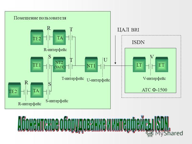 Со стороны пользователя в NT1 может включаться либо ТЕ, либо блок NT2. В последнем случае в NT2, со стороны пользователя, включается четырехпроводная шина S, к которой могут подключаться до восьми ТЕ. Выделяют две разновидности TE: TE1 - терминал, со