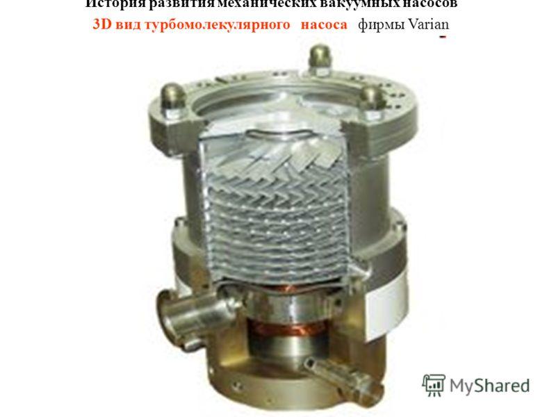 История развития механических вакуумных насосов 3D вид турбомолекулярного насоса фирмы Varian