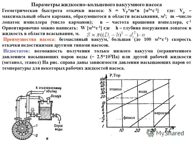 Параметры жидкосно–кольцевого вакуумного насоса Геометрическая быстрота откачки насоса: S = V P *m*n [м 3 *с -1 ] где: V p – максимальный объем кармана, образующегося в области всасывания, м 3 ; m –число лопаток импеллера (число карманов); n – частот