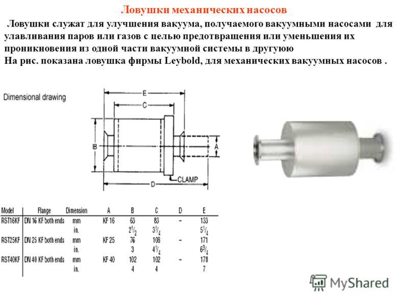 Ловушки механических насосов Ловушки служат для улучшения вакуума, получаемого вакуумными насосами для улавливания паров или газов с целью предотвращения или уменьшения их проникновения из одной части вакуумной системы в другуюю На рис. показана лову
