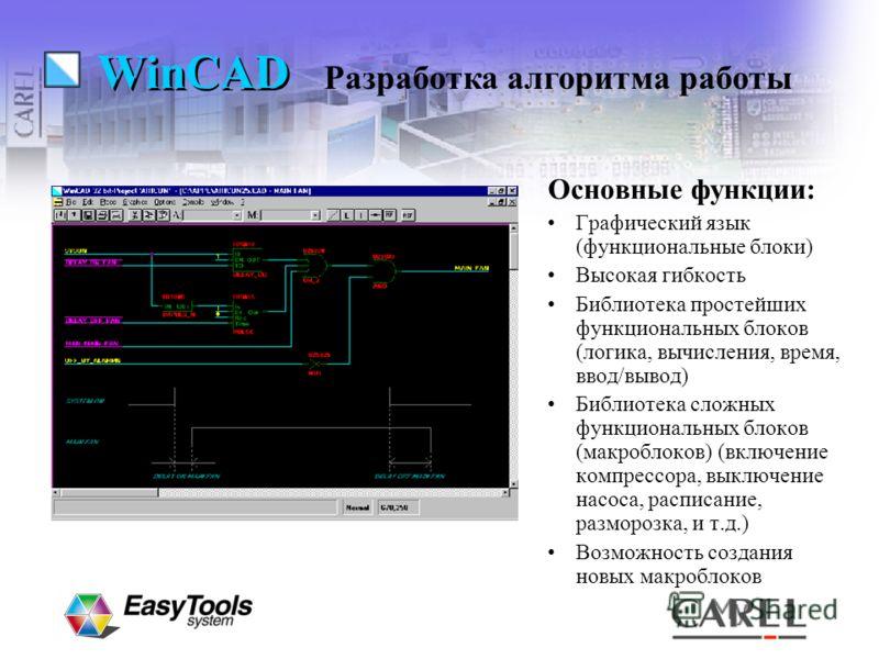 WinCAD Основные функции: Графический язык (функциональные блоки) Высокая гибкость Библиотека простейших функциональных блоков (логика, вычисления, время, ввод/вывод) Библиотека сложных функциональных блоков (макроблоков) (включение компрессора, выклю