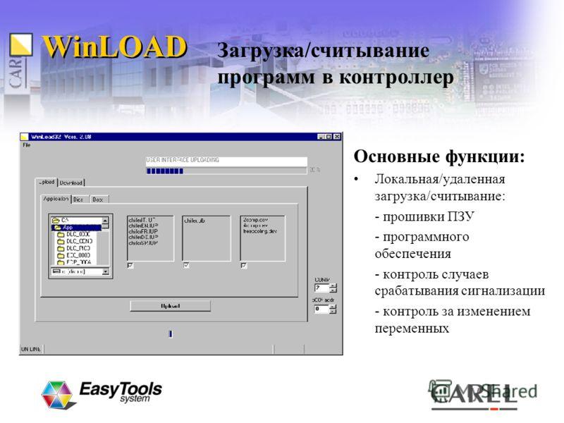 WinLOAD Основные функции: Локальная/удаленная загрузка/считывание: - прошивки ПЗУ - программного обеспечения - контроль случаев срабатывания сигнализации - контроль за изменением переменных Загрузка/считывание программ в контроллер