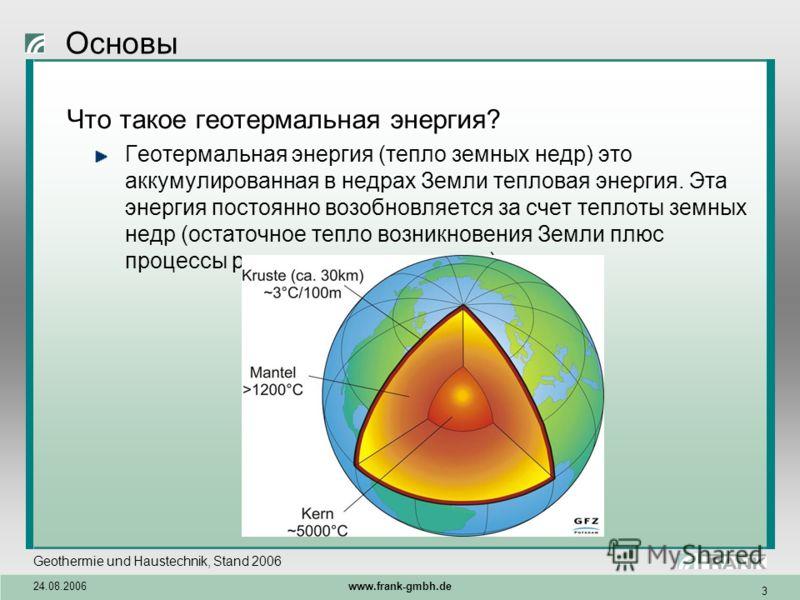 Geothermie und Haustechnik, Stand 2006 24.08.2006 www.frank-gmbh.de 3 Основы Что такое геотермальная энергия? Геотермальная энергия (тепло земных недр) это аккумулированная в недрах Земли тепловая энергия. Эта энергия постоянно возобновляется за счет