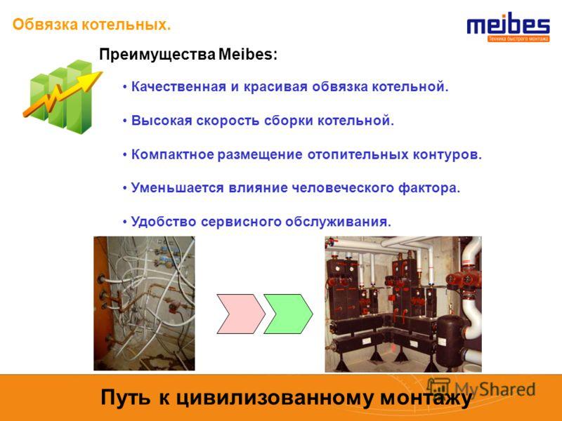 Обвязка котельных. Преимущества Meibes: Качественная и красивая обвязка котельной. Высокая скорость сборки котельной. Компактное размещение отопительных контуров. Уменьшается влияние человеческого фактора. Удобство сервисного обслуживания. Путь к цив