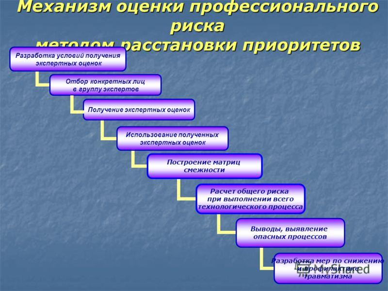 Механизм оценки профессионального риска методом расстановки приоритетов