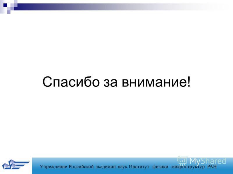 Учреждение Российской академии наук Институт физики микроструктур РАН Спасибо за внимание!
