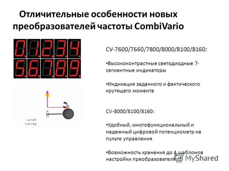 Отличительные особенности новых преобразователей частоты CombiVario CV-7600/7660/7800/8000/8100/8160: Высококонтрастные светодиодные 7- сегментные индикаторы Индикация заданного и фактического крутящего момента CV-8000/8100/8160: Удобный, многофункци