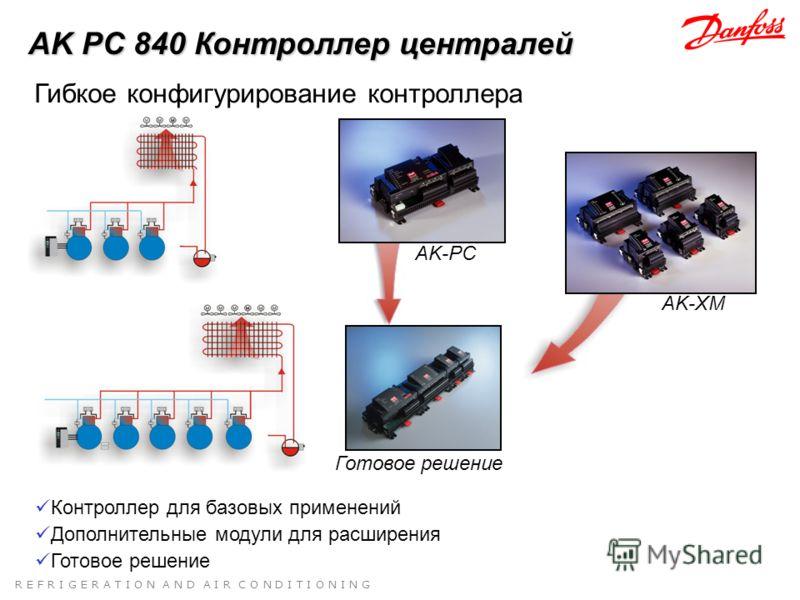 R E F R I G E R A T I O N A N D A I R C O N D I T I O N I N G Готовое решение AK-PC Контроллер для базовых применений AK-XM Дополнительные модули для расширения Гибкое конфигурирование контроллера AK PC 840 Контроллер централей