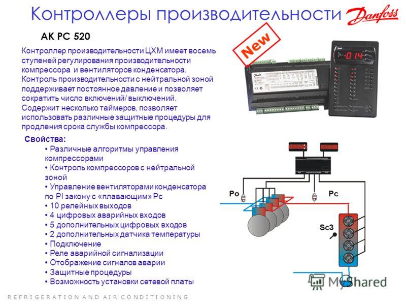 R E F R I G E R A T I O N A N D A I R C O N D I T I O N I N G AK PC 520 Контроллер производительности ЦХМ имеет восемь ступеней регулирования производительности компрессора и вентиляторов конденсатора. Контроль производительности с нейтральной зоной