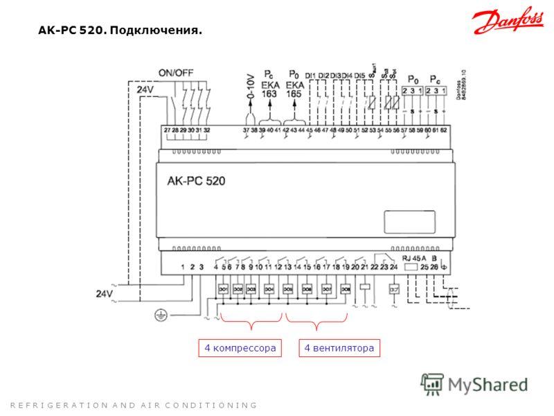 R E F R I G E R A T I O N A N D A I R C O N D I T I O N I N G AK-PC 520. Подключения. 4 компрессора4 вентилятора