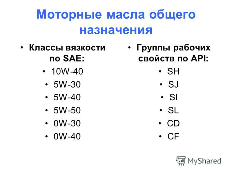 Моторные масла общего назначения Классы вязкости по SAE: 10W-40 5W-30 5W-40 5W-50 0W-30 0W-40 Группы рабочих свойств по API: SH SJ SI SL CD CF