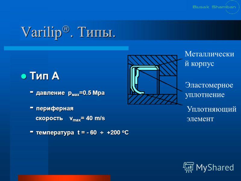Varilip. Типы. Тип А Тип А - давление р мах =0.5 Mpa - периферная скорость v max = 40 m/s скорость v max = 40 m/s - температура t = - 60 ÷ +200 о С Металлически й корпус Эластомерное уплотнение Уплотняющий элемент