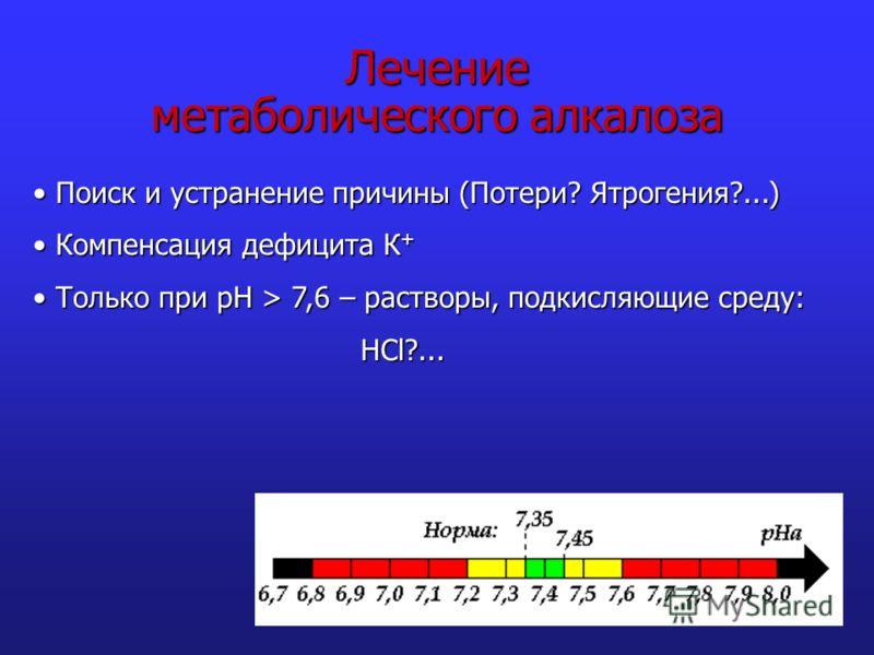 Лечение метаболического алкалоза Поиск и устранение причины (Потери? Ятрогения?...) Поиск и устранение причины (Потери? Ятрогения?...) Компенсация дефицита К + Компенсация дефицита К + Только при рН > 7,6 – растворы, подкисляющие среду: Только при рН