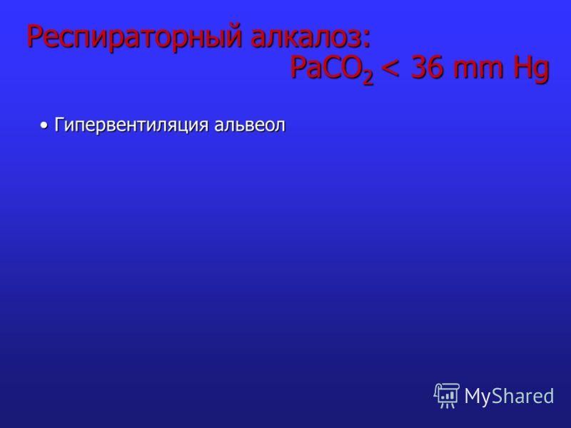 Респираторный алкалоз: PaCO 2 < 36 mm Hg Гипервентиляция альвеол Гипервентиляция альвеол