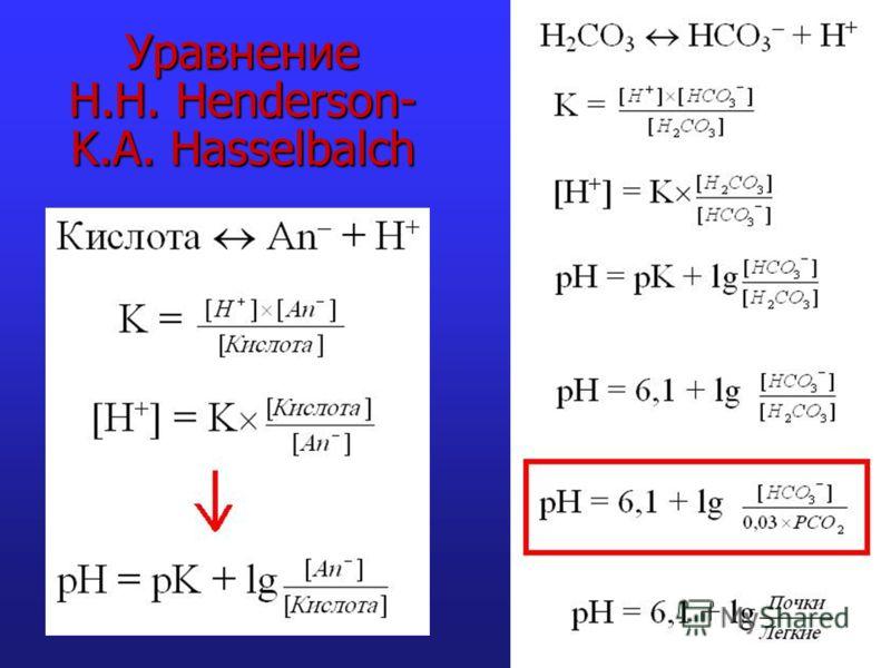 Уравнение H.H. Henderson- K.A. Hasselbalch