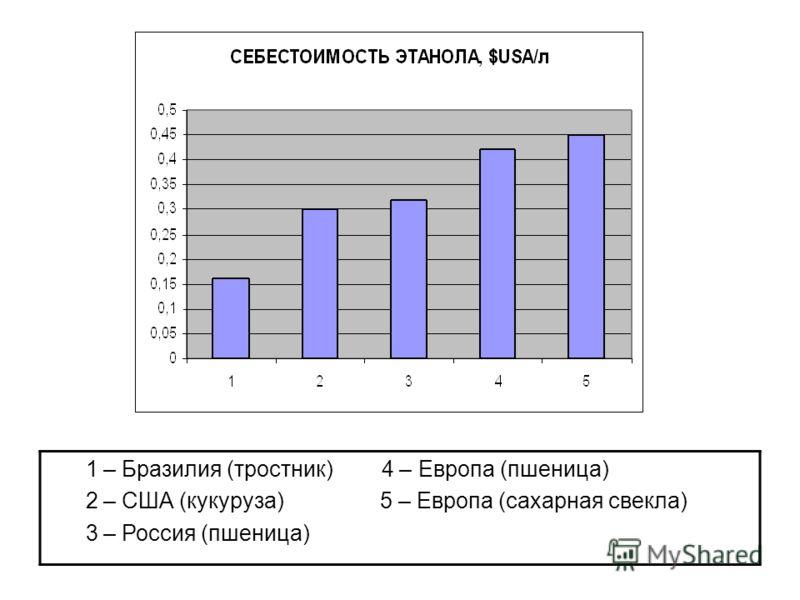 1 – Бразилия (тростник) 4 – Европа (пшеница) 2 – США (кукуруза) 5 – Европа (сахарная свекла) 3 – Россия (пшеница)