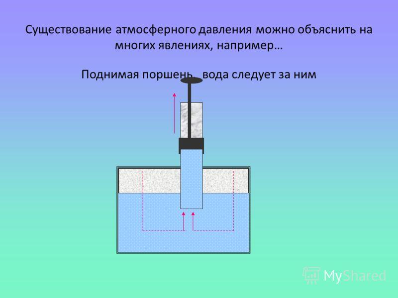Существование атмосферного давления можно объяснить на многих явлениях, например… Поднимая поршень, вода следует за ним