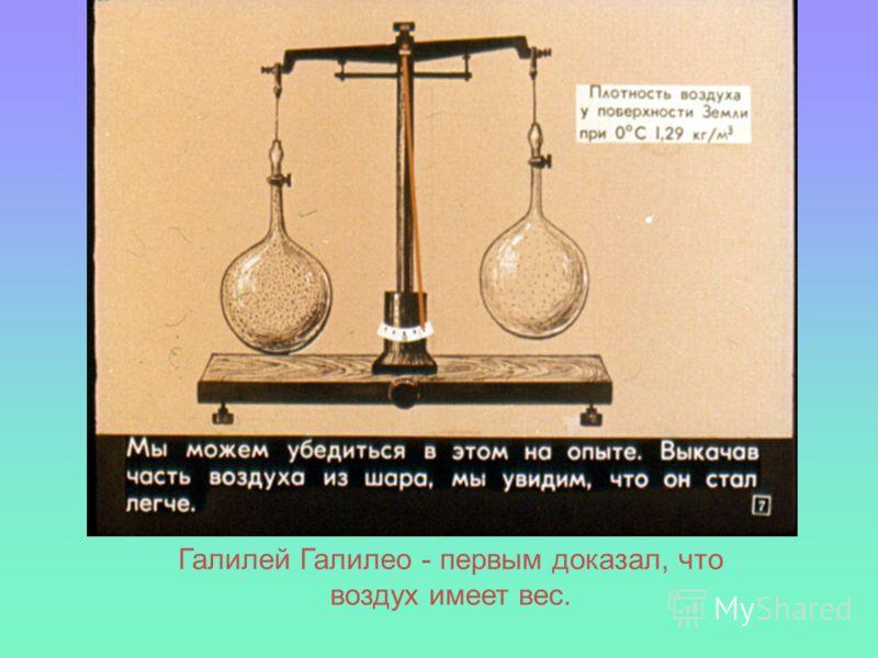 Галилей Галилео - первым доказал, что воздух имеет вес.