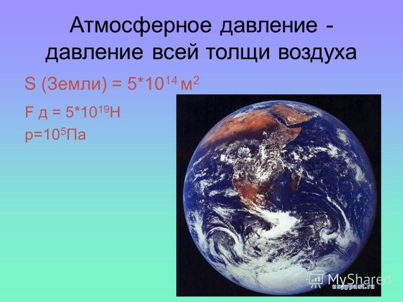 Атмосферное давление - давление всей толщи воздуха S (Земли) = 5*10 14 м 2 F д = 5*10 19 H p=10 5 Па
