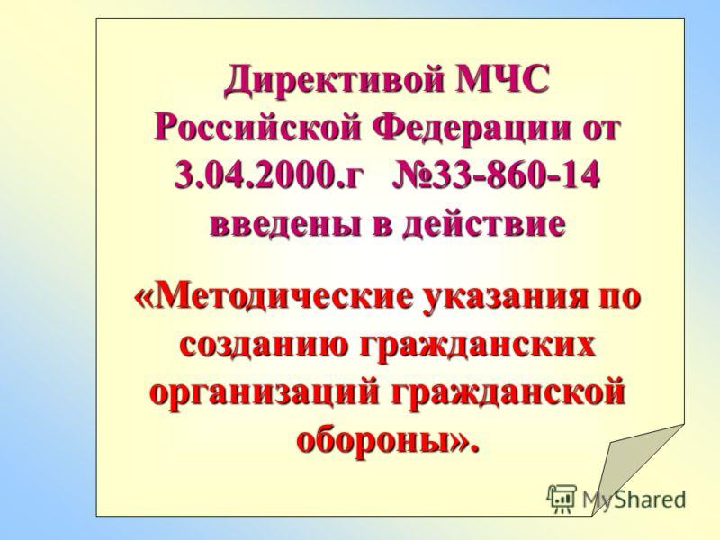Директивой МЧС Российской Федерации от 3.04.2000.г 33-860-14 введены в действие «Методические указания по созданию гражданских организаций гражданской обороны».